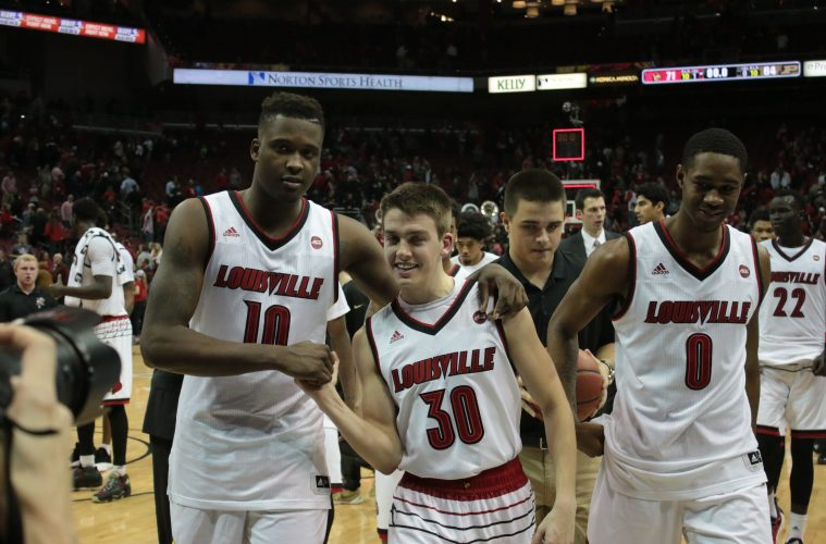 Jaylen Johnson, Ryan McMahon, VJ King Louisville vs. Purdue 11-30-2016 Photo by William Caudill TheCrunchZone.com