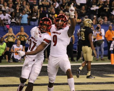 Dez Fitzpatrick, Jaylen Smith Louisville Football vs. Purdue 9-2-2017 Photo by Mark Blankenbaker, TheCrunchZone.com