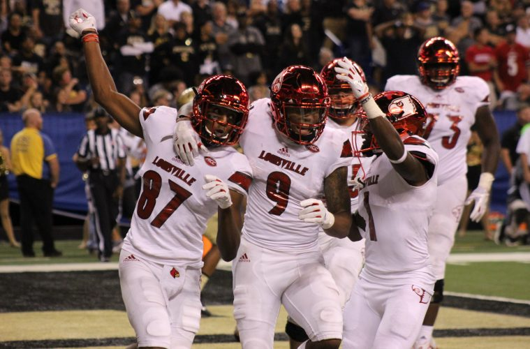 Dez Fitzpatrick, Jaylen Smith, Traveon Samuel Louisville Football vs. Purdue 9-2-2017 Photo by Mark Blankenbaker, TheCrunchZone.com