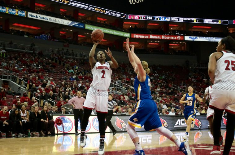 Myisha Hines-Allen Louisville vs. South Dakota St 12-11-2016 Photo by William Caudill TheCrunchZone.com