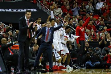 David Padgett, Greg Paulus, Trent Johnson, Bench Reaction Louisville vs. Virginia Tech 1-13-2018 Photo by William Caudill, TheCrunchZone.com