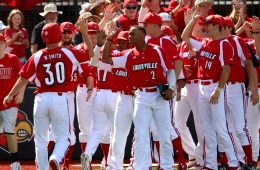 Will Smith, Corey Ray, Austin Clemons Louisville vs. Wright State 6-5-2016 Photo by William Caudill