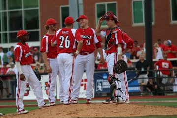 Drew Harrington, Blake Tiberi, Danny Rosenbaum, Will Smith, Devin Hairston Louisville vs. Wright State 6-5-2016 Photo by William Caudill