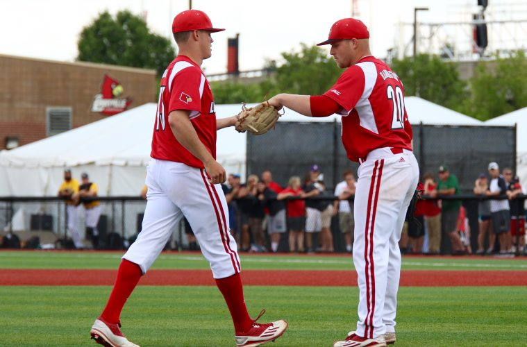 Drew Harrington, Zach Burdi Louisville vs. Wright State 6-5-2016 Photo by William Caudill
