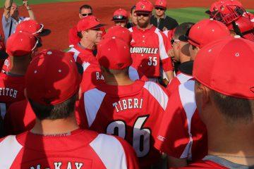 Regional Champion Celebration, Dan McDonnell, Brendan McKay, Colin Lyman, Blake Tiberi, Colby Fitch Louisville vs. Wright State 6-5-2016 Photo by William Caudill
