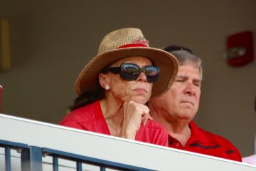 Lonnie Ali, Tom Jurich Louisville vs. UC Santa Barbara NCAA Regional Game 2 Photo by William Caudill 6-12-2016