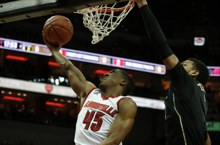 Donovan Mitchell Louisville vs. Wake Forest 1-3-2016 Photo by William Caudill