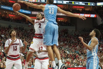 Ray Spalding, Quentin Snider Louisville vs. North Carolina 2-1-2016 Photo Courtesy of Wade Morgen