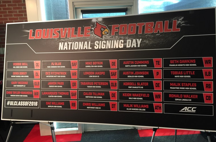2016 National Signing Day Big Board Louisville Football 2-3-2016 Photo by Mark Blankenbaker