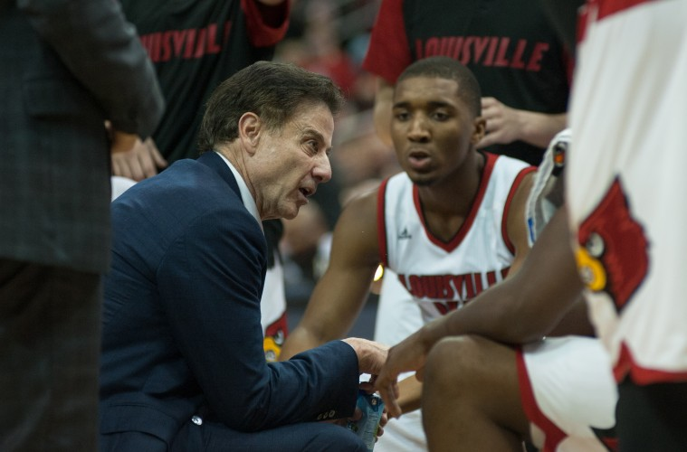 Rick Pitino, Donovan Mitchell Louisville vs. Syracuse 2016 Photo by Wade Morgen