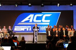 ACC Commissioner John Swofford announces the launch the ACC Network – a comprehensive linear and digital network partnering ESPN and the ACC during the 2016 ACC Football Kickoff in Charlotte, N.C., Thursday, July 21, 2016. (Photo by Sara D. Davis, the ACC.com)  Photo Courtesy of the ACC