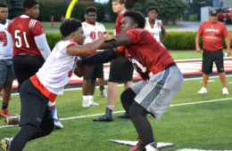 Cordavien Suggs showed off his pass blocking skills at Light up the 'Ville in July 2016.