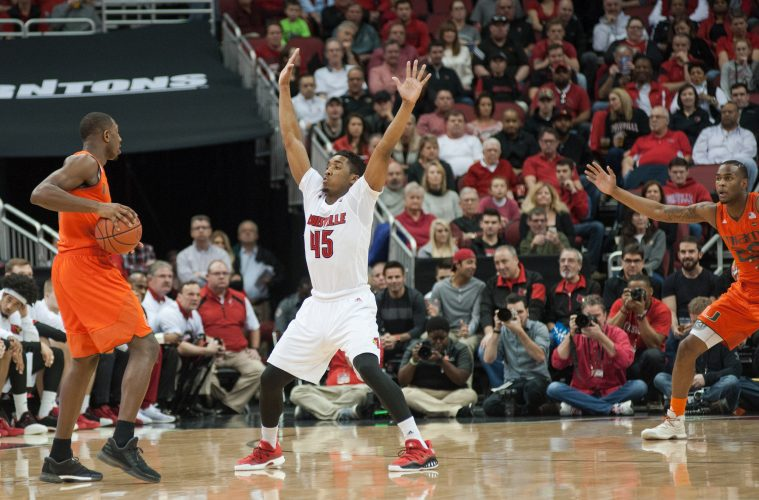 Donovan Mitchell Louisville vs. Miami 2-11-2017 Photo By Wade Morgen TheCrunchZone.com