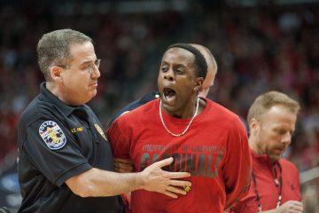Fan Arrested on Court Louisville vs. Miami 2-11-2017 Photo By Wade Morgen TheCrunchZone.com