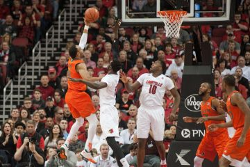 Mangok Mathiang, Jaylen Johnson Louisville vs. Miami 2-11-2017 Photo By Wade Morgen TheCrunchZone.com