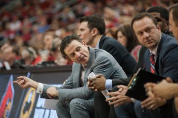 Rick Pitino, Mike Balado Louisville vs. Miami 2-11-2017 Photo By Wade Morgen TheCrunchZone.com