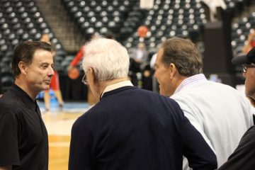 Rick Pitino, Jim Nantz, Bill Raftery Louisville Basketball Open Practice NCAA 1st Round 3-16-2017 Photo by Mark Blankenbaker