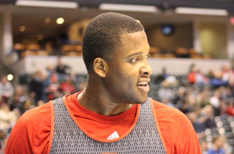 Jaylen Johnson Louisville Basketball Open Practice NCAA 1st Round 3-16-2017 Photo by Mark Blankenbaker