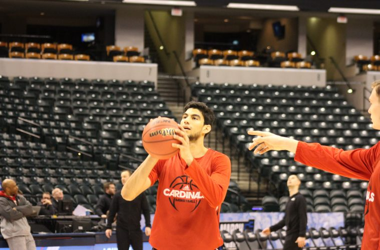 Anas Mahmoud Louisville Basketball Open Practice NCAA 1st Round 3-16-2017 Photo by Mark Blankenbaker