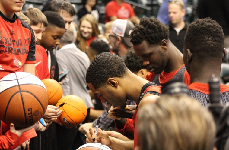 VJ King, Mangok Mathiang Louisville Basketball Open Practice NCAA 1st Round 3-16-2017 Photo by Mark Blankenbaker