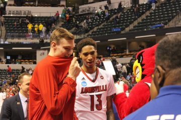 Matz Stockman, Ray Spalding Louisville vs. Jacksonville State Banker's Life Field House Indianapolis NCAA 1st Round 3-16-2017 Photo by Mark Blankenbaker