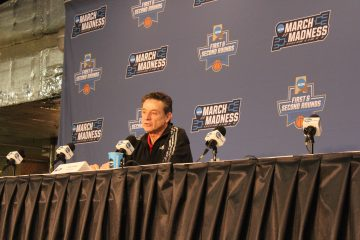 Rick Pitino Pre-Game Interviews Louisville vs. Michigan Banker's Life Field House Indianapolis NCAA 1st Round 3-18-2017 Photo by Mark Blankenbaker