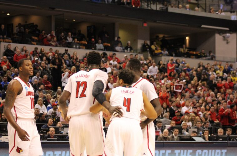 Jaylen Johnson, Mangok Mathiang, Quentin Snider, Louisville vs. Michigan Banker's Life Field House Indianapolis NCAA 2nd Round 3-19-2017 Photo by Mark Blankenbaker