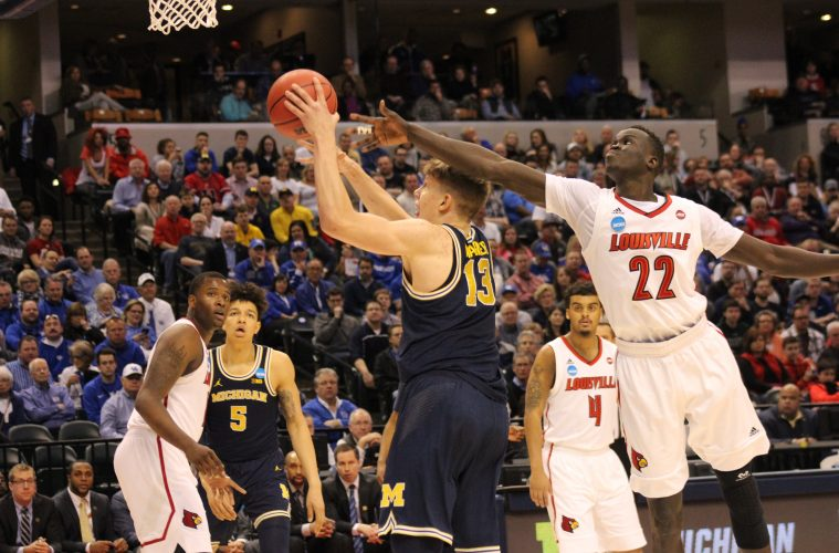 Deng Adel Louisville vs. Michigan Banker's Life Field House Indianapolis NCAA 2nd Round 3-19-2017 Photo by Mark Blankenbaker