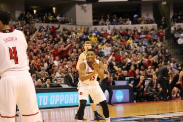 Donovan Mitchell Louisville vs. Michigan Banker's Life Field House Indianapolis NCAA 2nd Round 3-19-2017 Photo by Mark Blankenbaker
