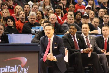 Rick Pitino, Kenny Johnson, Mike Balado Louisville vs. Michigan Banker's Life Field House Indianapolis NCAA 2nd Round 3-19-2017 Photo by Mark Blankenbaker