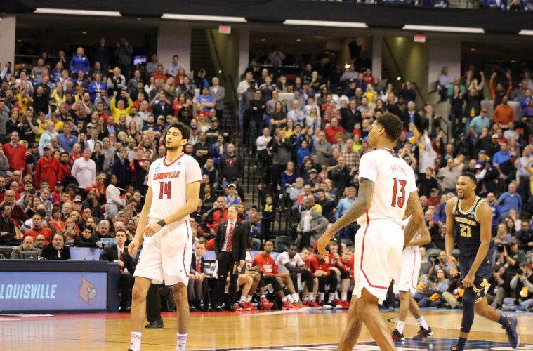 Anas Mahmoud, Ray Spalding Louisville vs. Michigan Banker's Life Field House Indianapolis NCAA 2nd Round 3-19-2017 Photo by Mark Blankenbaker