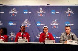 Jeff Walz, Jazmine Jones, Myisha Hines-Allen, Asias Durr Women's Basketball Louisville vs. Chattanooga NCAA 1st Round 3-18-2017 Photo by Daryl Foust