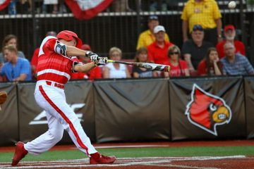 Jake Snider HR Louisville Baseball vs. Radford NCAA Regional 6-2-2017 Photo by William Caudill TheCrunchZone.com