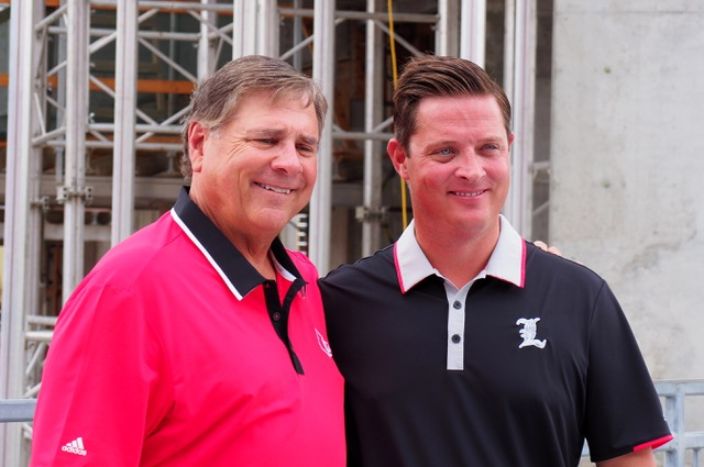 Tom Jurich, Mark Jurich Papa John's Cardinal Stadium Construction Update Photo by Cindy Rice Shelton 8-18-2017, TheCrunchZone.com