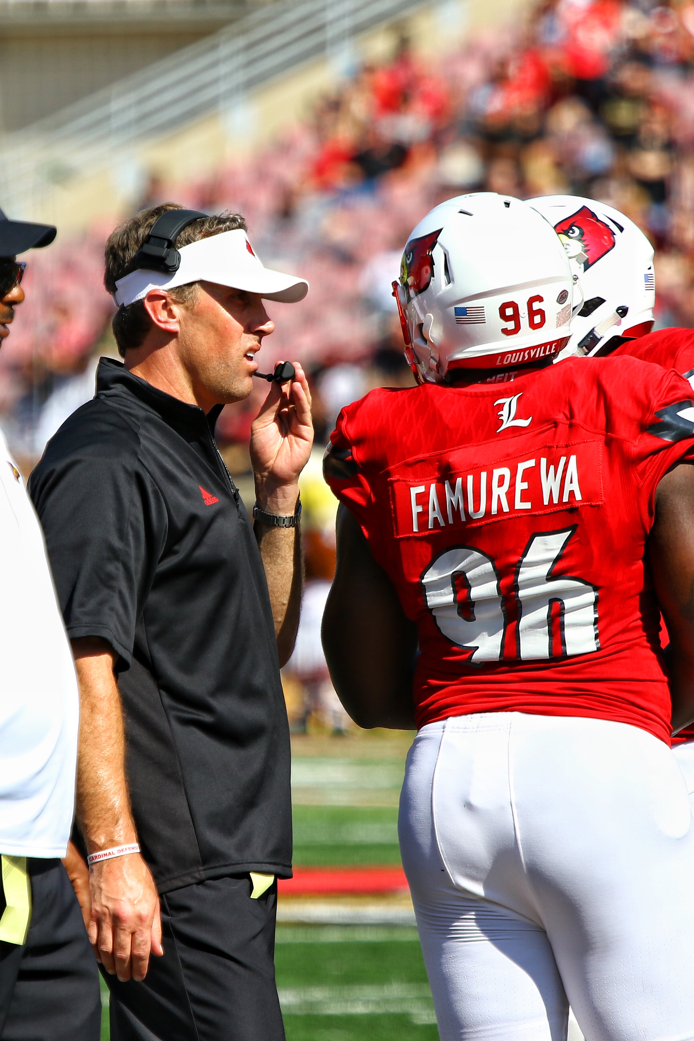 Peter Sirmon, Henry Famurewa, Louisville Football vs. Boston College 10-14-2017 Photo by William Caudill, TheCrunchZone.com