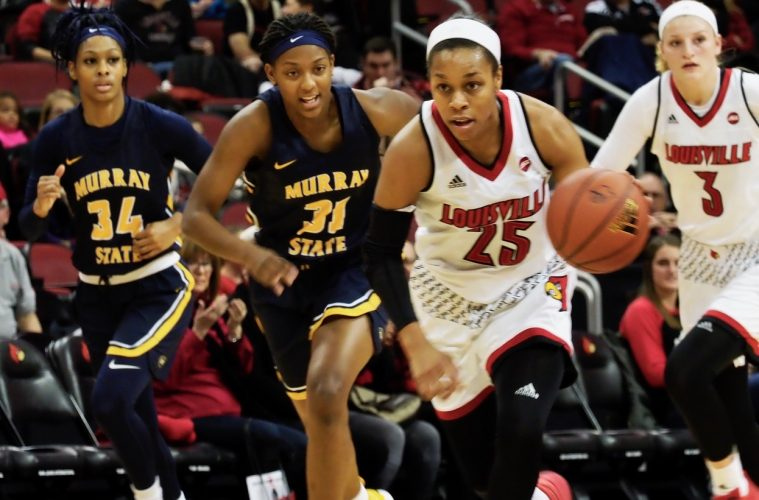 Asia Durr & Sam Fuehring Louisville Women's Basketball vs. Murray State 11-24-2017 Photo by Cindy Rice Shelton