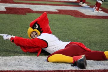 Louie the Card Louisville vs. Alabama 51-14, 9-1-2018. Photo by Ashley Satterfield, TheCrunchZone.com
