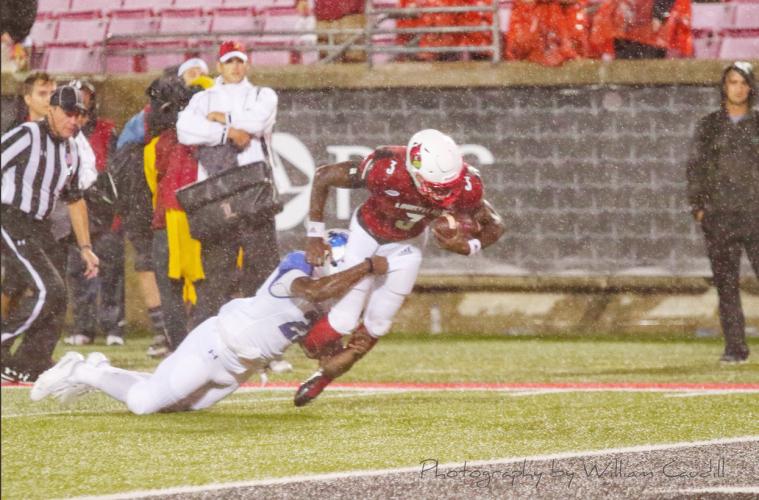 Malik Cunningham (Football) Louisville vs. Indiana State, 9-8-2018. Photo by William Caudill, TheCrunchZone.com