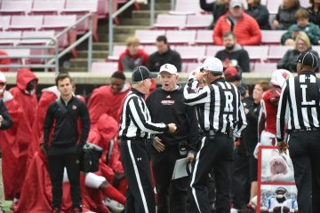Bobby Petrino, officials Louisville vs. Wake Forest 10-27-2018 Photo by Austin Sullivan TheCrunchZone.com