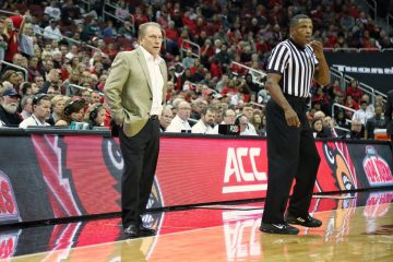 "Tom Izzo, Ted ""TV Teddy"" Valentine Louisville vs. Michigan State 11-27-2018 Photo by William Caudill, TheCrunchZone.com"