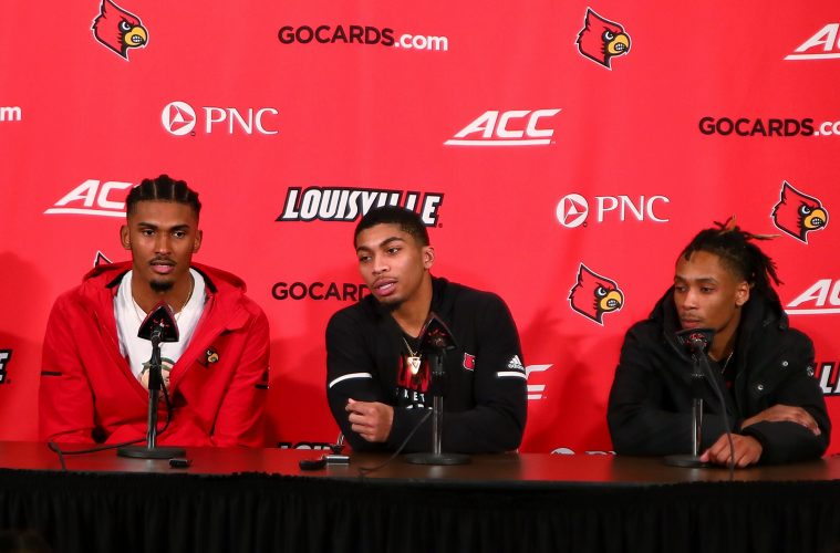 Malik Williams, Christen Cunningham, Khwan Fore Louisville vs. NC State Post-Game 1-24-2019 Photo by William Caudill, TheCrunchZone.com