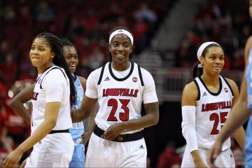 Arica Carter, Jazmine Jones, Asia Durr Louisville vs. North Carolina 1-3-2019 Photo by William Caudill, TheCrunchZone.com