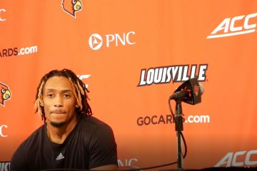 Khwan Fore addresses the media prior to Lousiville v Virginia on 2019-02-23