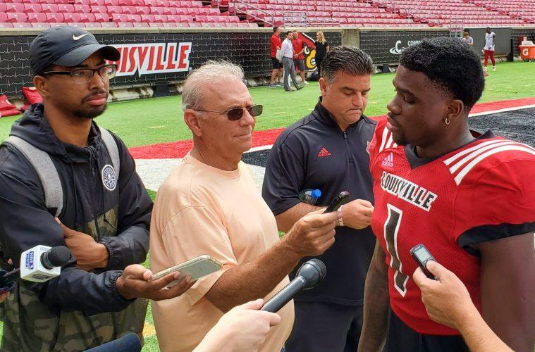 PJ Mbanasor Louisville Football Fall Camp 8-13-2019. Photo by Tom Farmer, TheCrunchZone.com
