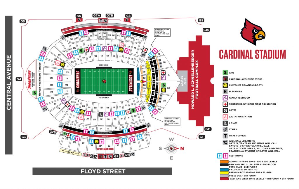 Cardinal Stadium Map 2019