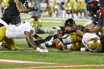GG Robinson, fumble Louisville vs. Notre Dame 9-2-2019 Photo by William Caudill, TheCrunchZone.com