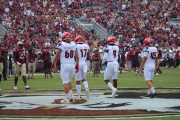 Tyler Haycraft, Dorian Etheridge, CJ Avery, Blanton Creque Louisville vs. Florida State 9-21-2019 Photo by Mark Blankenbaker TheCrunchZone.com