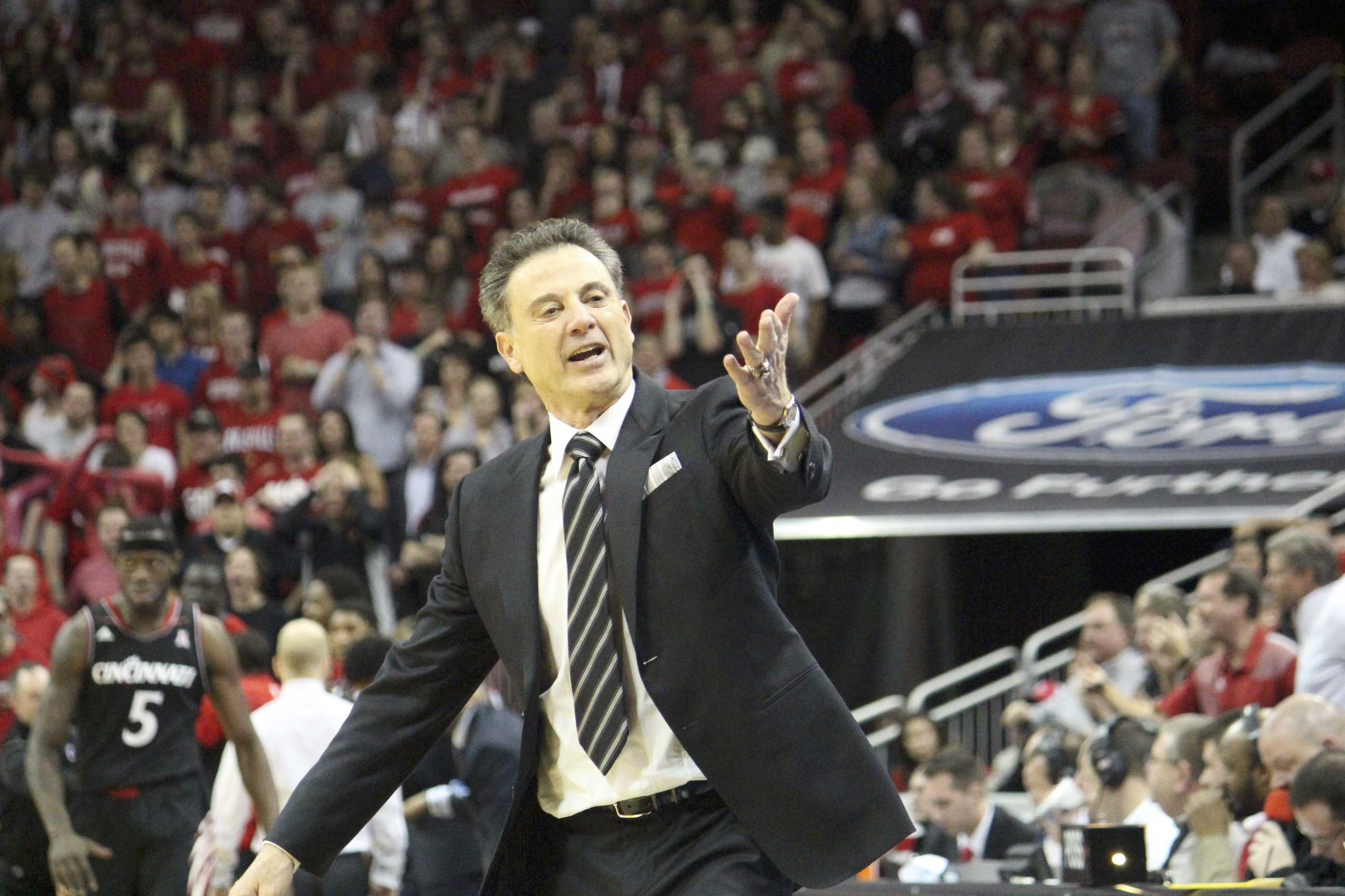 Rick Pitino Louisville vs. Cincinnati 2013 Photo by Mike Lindsay