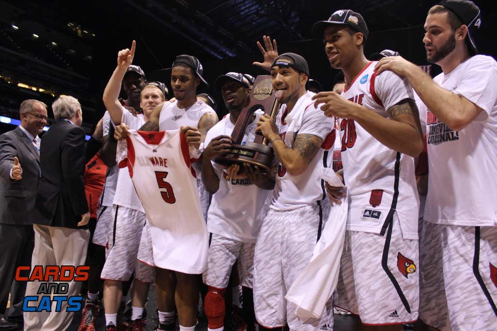 Gorgui Dieng, Tim Henderson, Chane Behanan, Kevin Ware Jersey, Russ Smith, Peyton Siva, Wayne Blackshear, Luke Hancock Celebrate a Regional Final win over Duke in 2013 Elite 8 NCAA Tournament Indianapolis, IN Lucas Oil Stadium Photo by Mark Blankenbaker