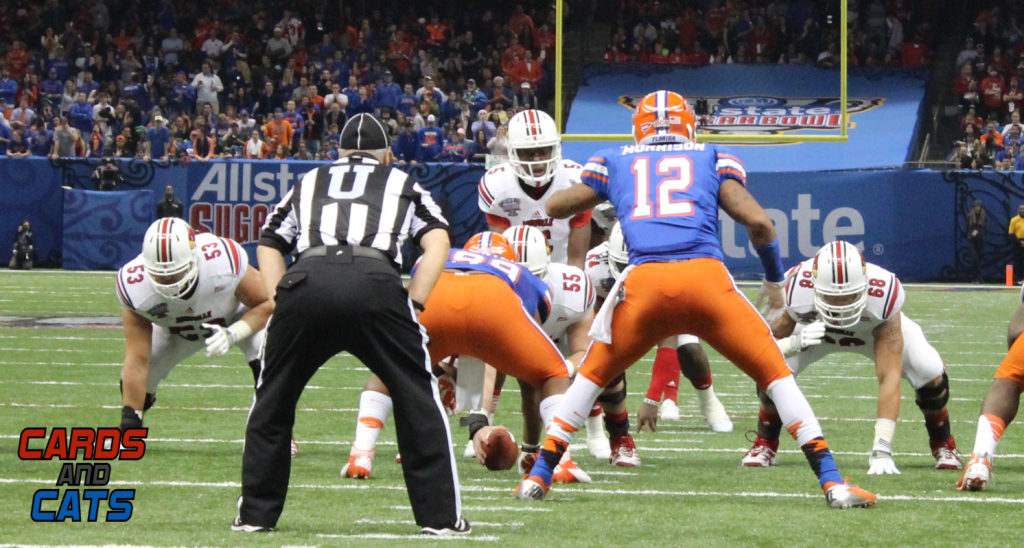 Jake Smith, Teddy Bridgewater, Mario Benavides, Kamran Joyer 2013 Sugar Bowl, Louisville vs. Florida Photo by Mike Lindsay
